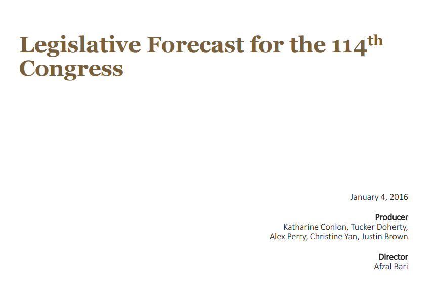 Legislative Forecast for the 114th Congress, 1-4-16