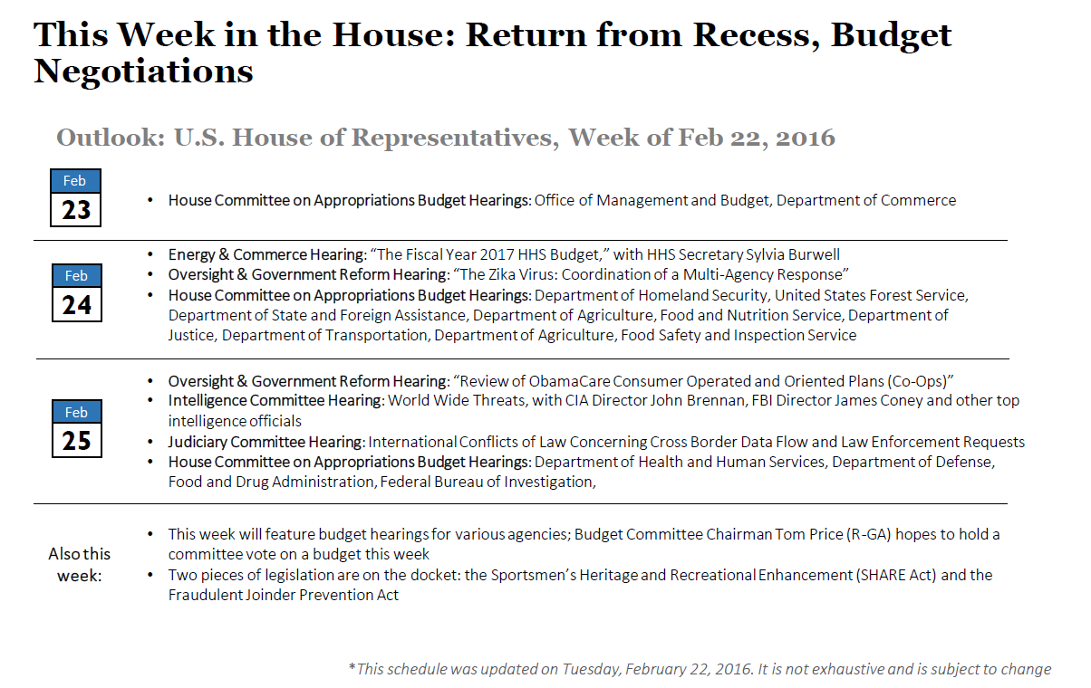 Outlook for Congress and the White House, Feb 22-26