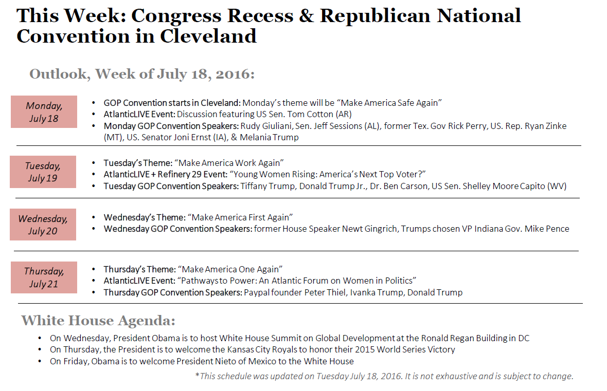 Outlook for Congress and the White House: July 18-22