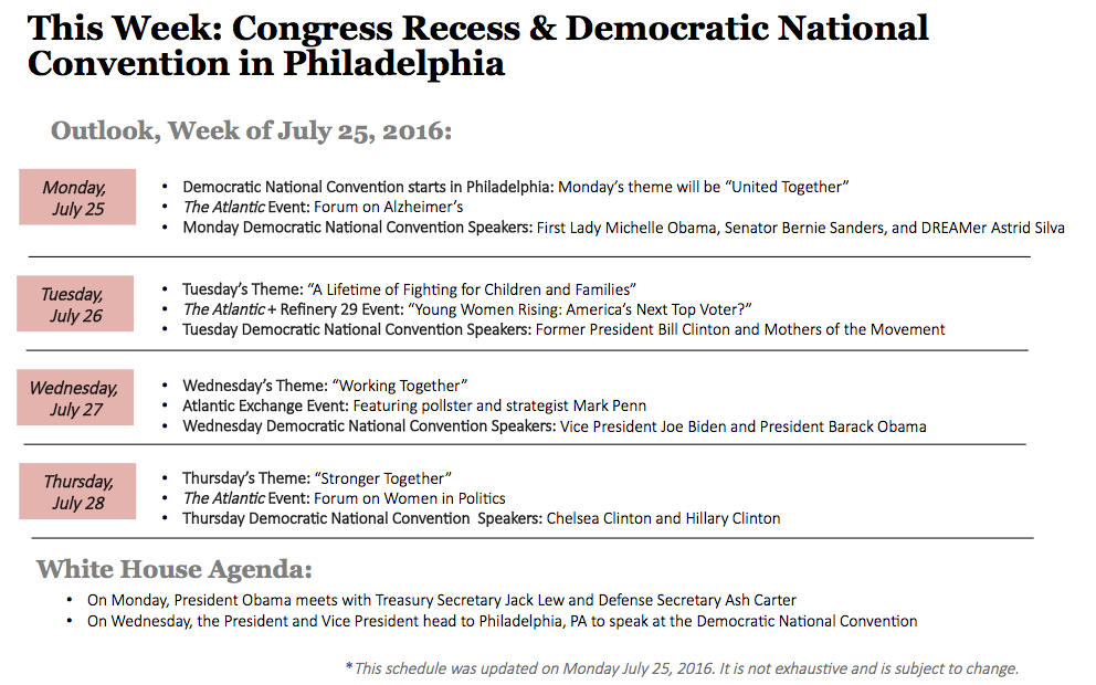 Outlook for Congress and the White House: July 25-29