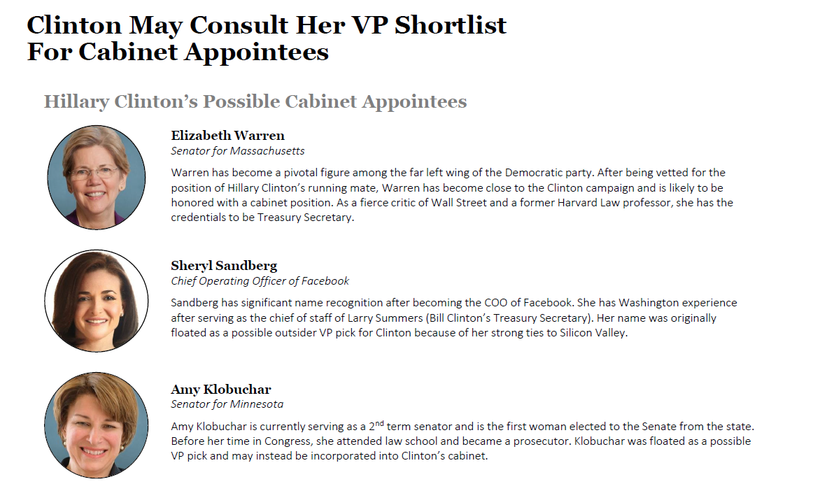 Hillary Clinton's possible cabinet appointees