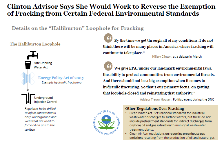 Exemption for Fracking Could be Removed If Clinton Elected