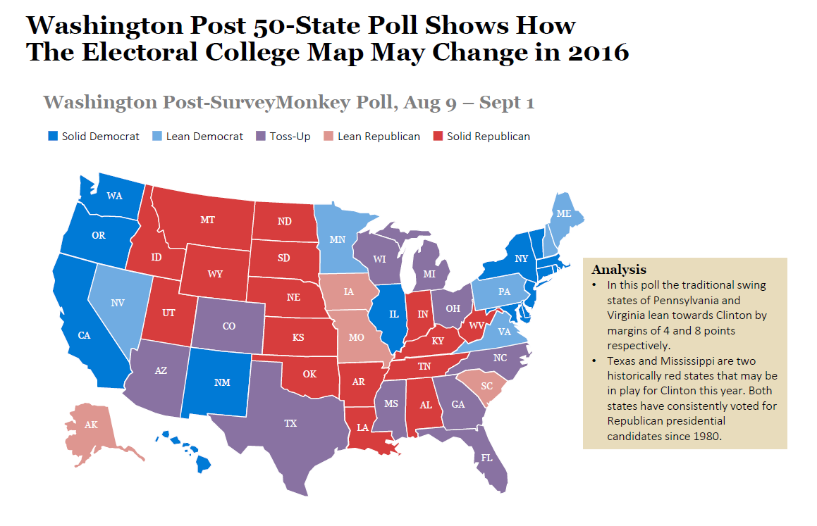 50-State Washington Post Poll Shows How Electoral Map May -3079