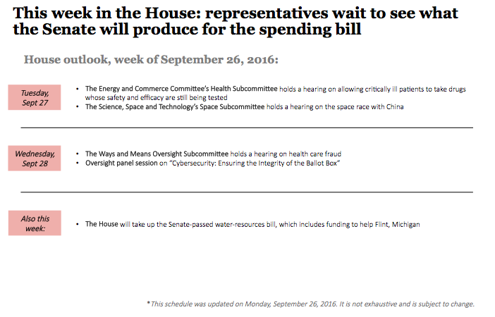 Outlook on Congress and the White House, September 26-30