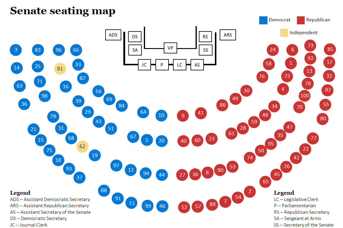 Senate Seating Map For The 114th Congress