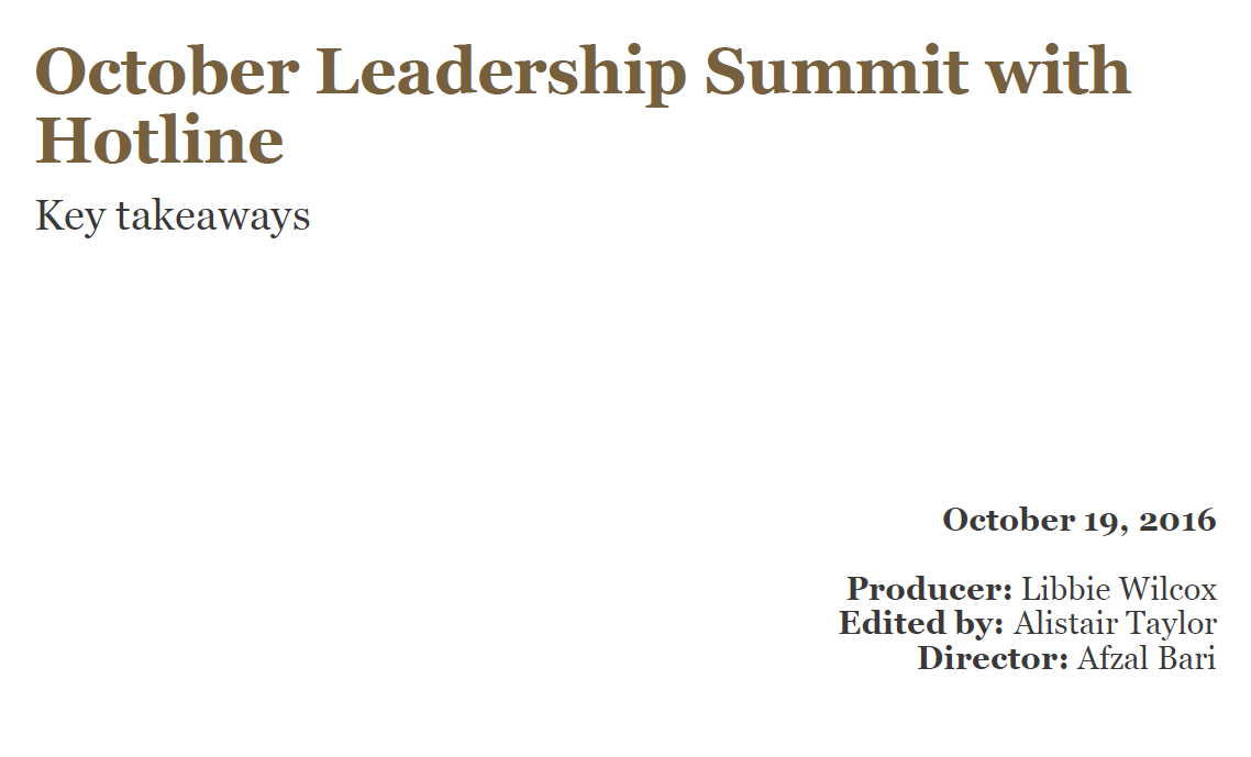 October Leadership Summit with Hotline