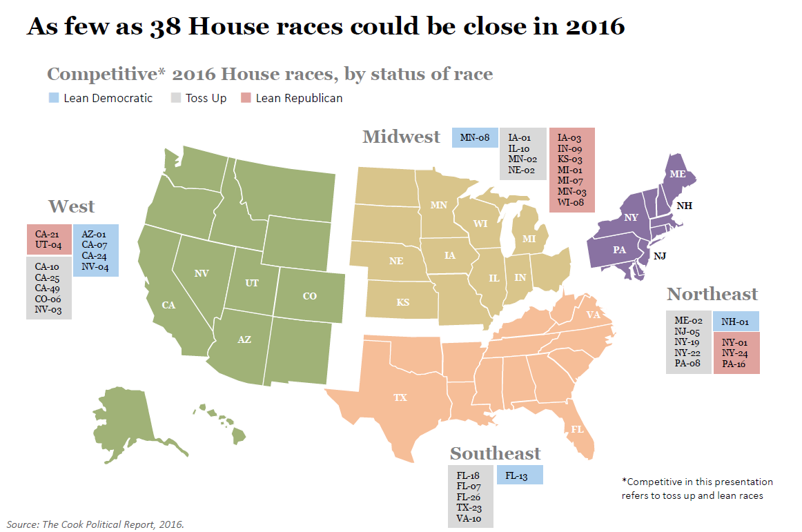 David Wasserman's competitive House races map (2016)