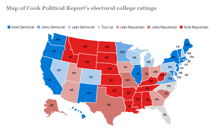 Cook Political Report electoral college ratings map