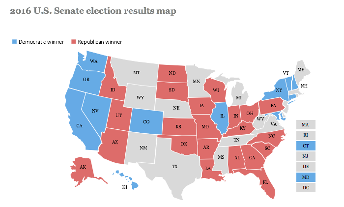 2016 Senate results map