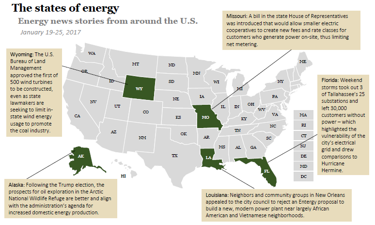 The states of energy on January 25, 2017