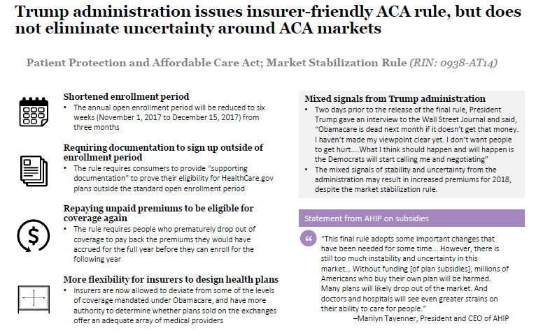 Trump administration releases final rule to stabilize ACA ...
