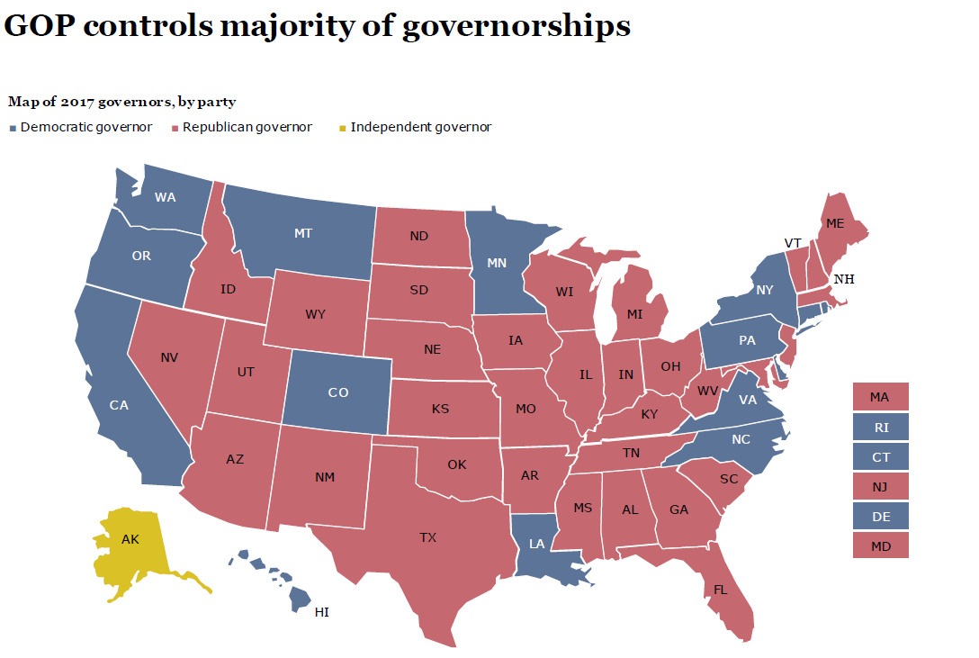 Map Of Governors By Party - Us map of republican governors