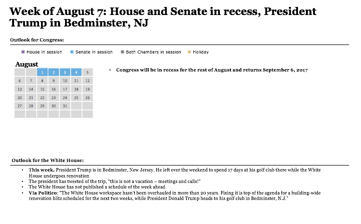 Outlook for Congress and the White House: Aug 7-12