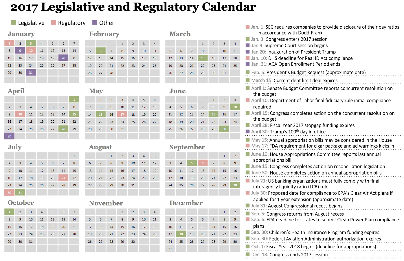 2017 Legislative and Regulatory Calendar