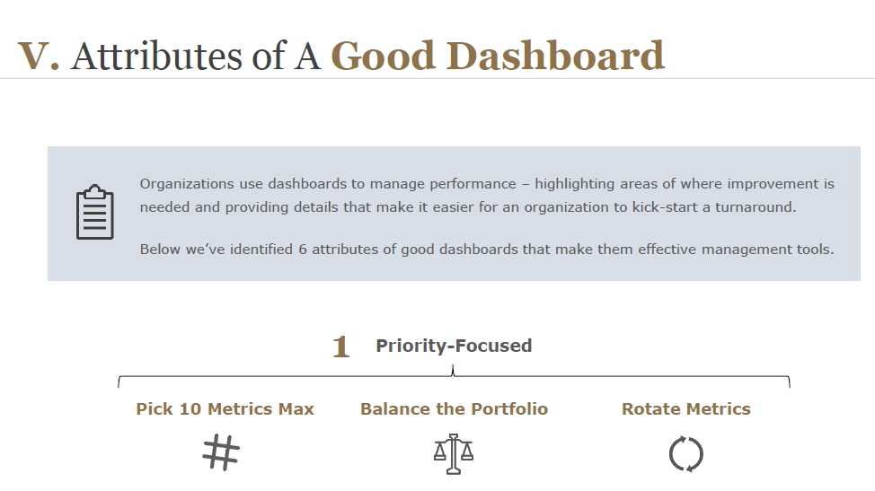 Attributes of a Good Dashboard