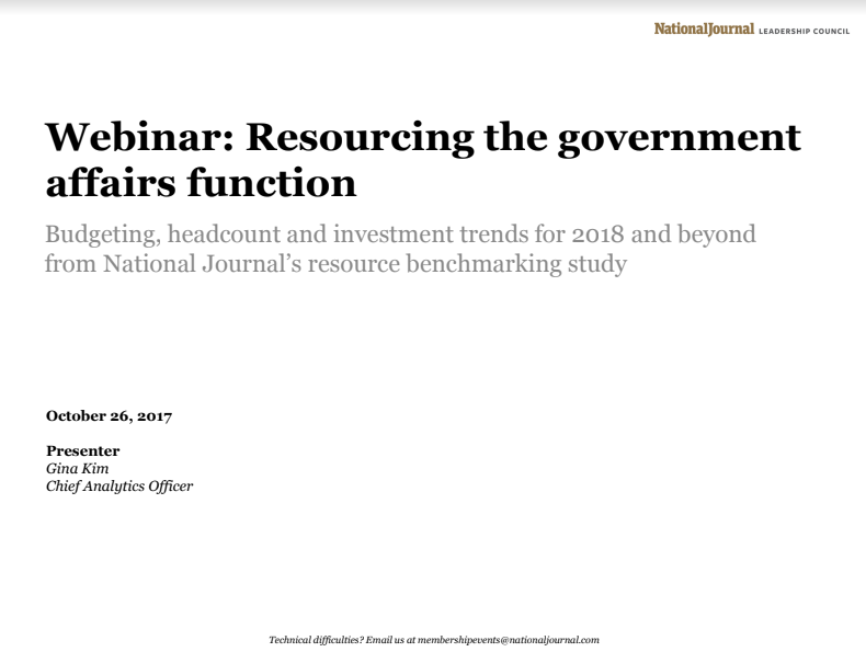 Resourcing the Government Affairs Function for 2018