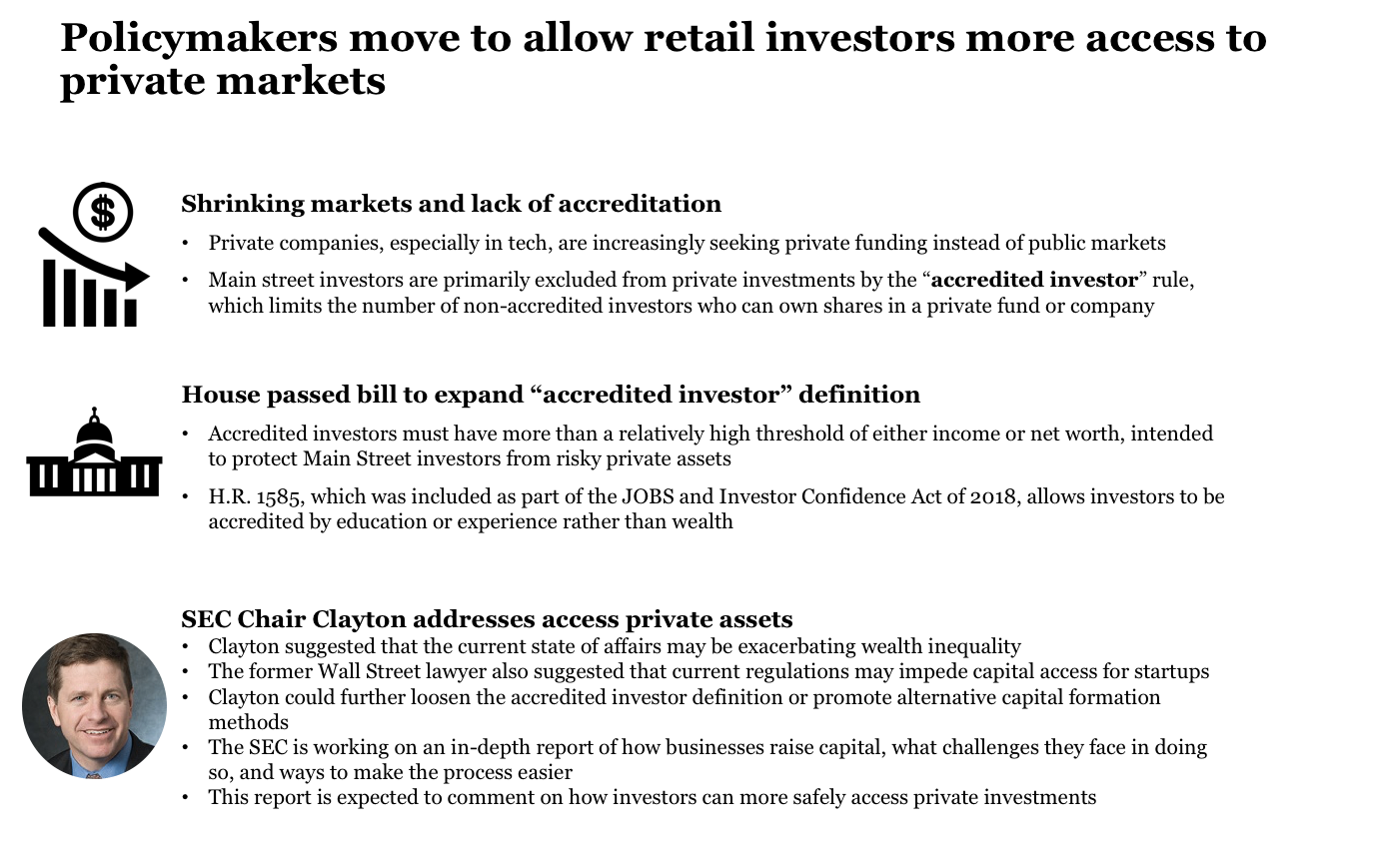 Policymakers consider loosening access to private markets
