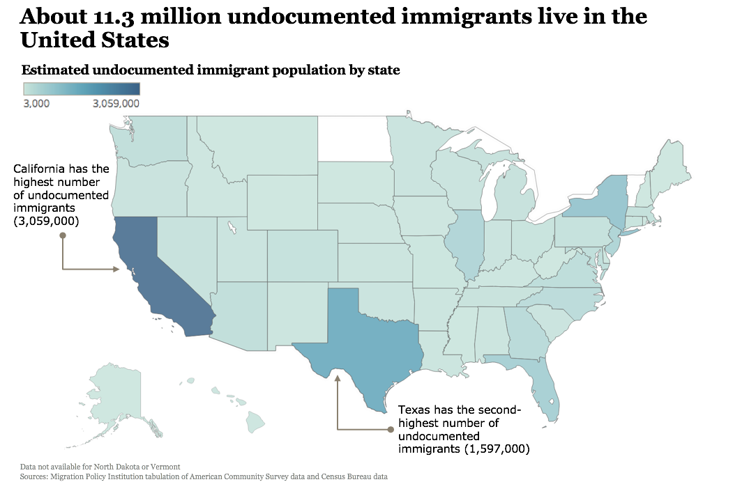 Undocumented immigrant population by state